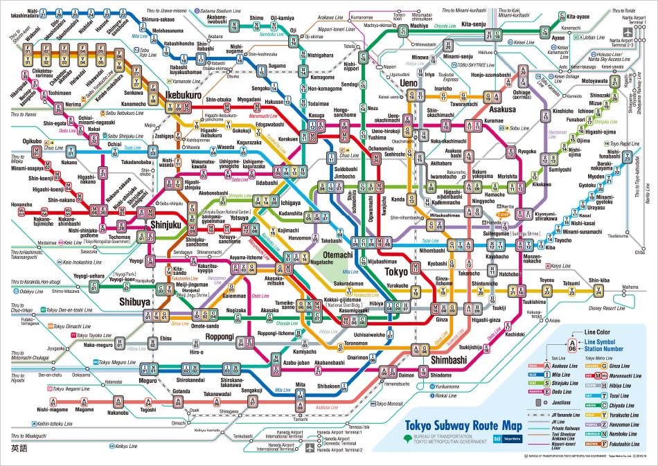 Схема метро и электричек Токио